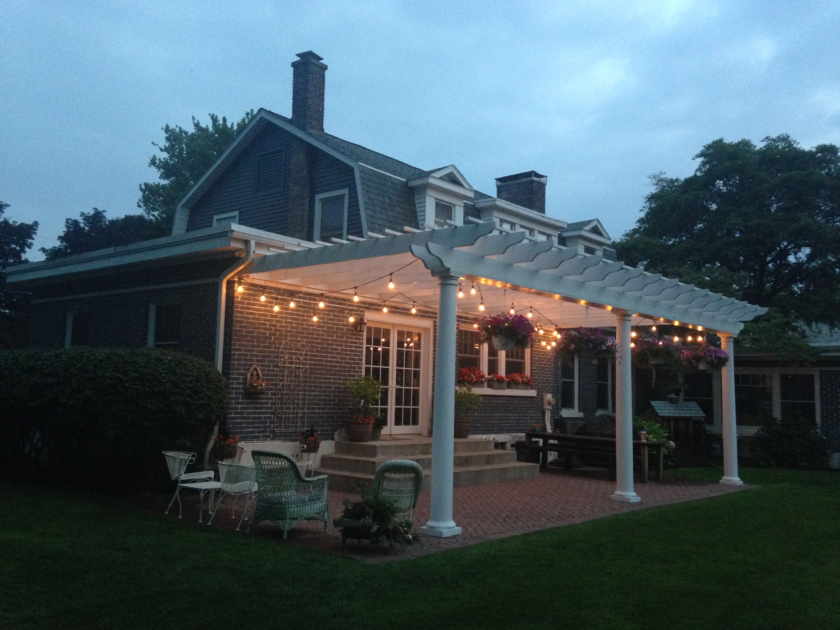 Finished   Pergola, Herringbone Brick Patio, Cafe Lights, Reclaimed Barn  Wood Table