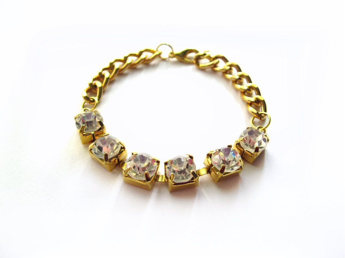 SALE+Gold+rhinestone+and+chain+arm+candy+bracelet+by+StoreV,+$14.00
