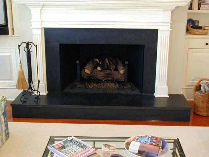 honed black granite fireplace tile | Granite Fireplace Gallery ...
