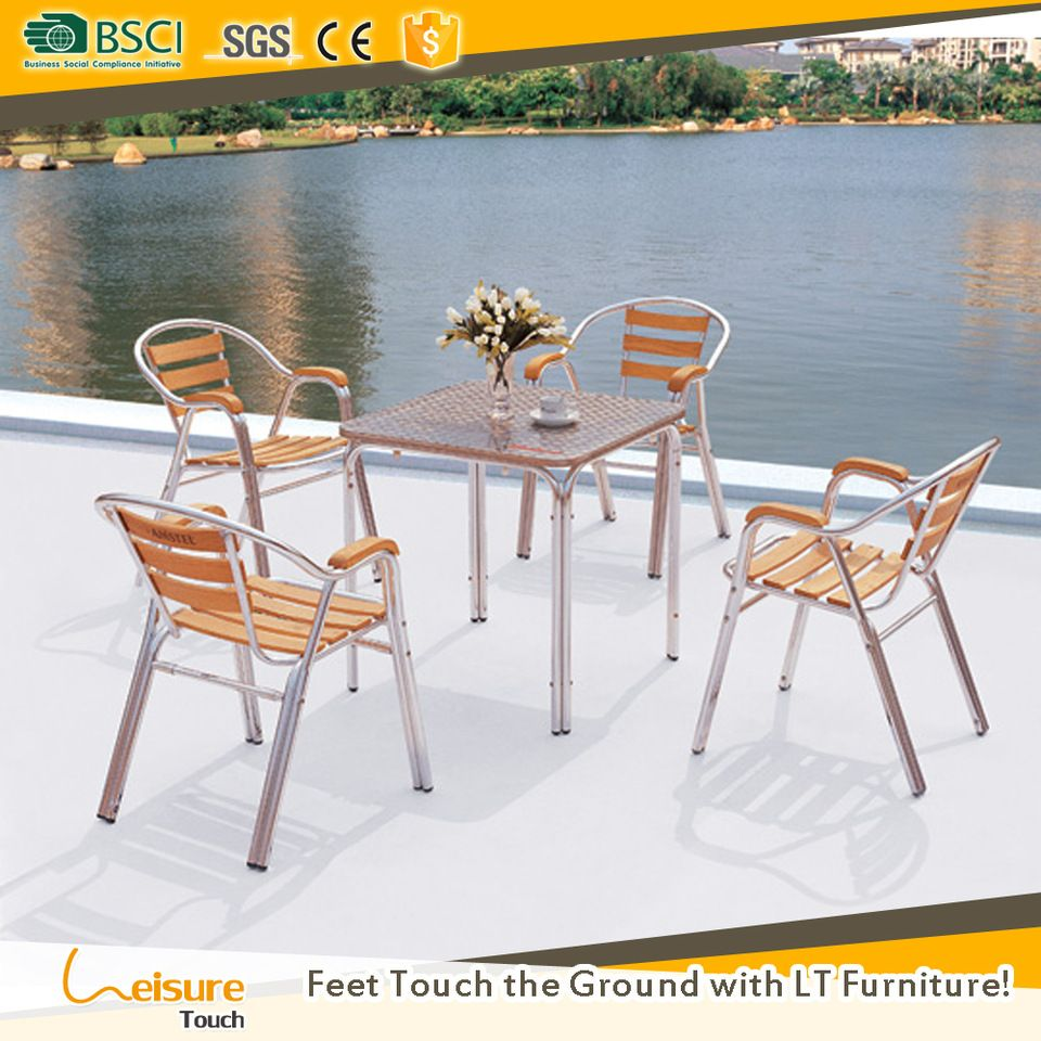 Simple design aluminum wooden garden outdoor square table and chair ...