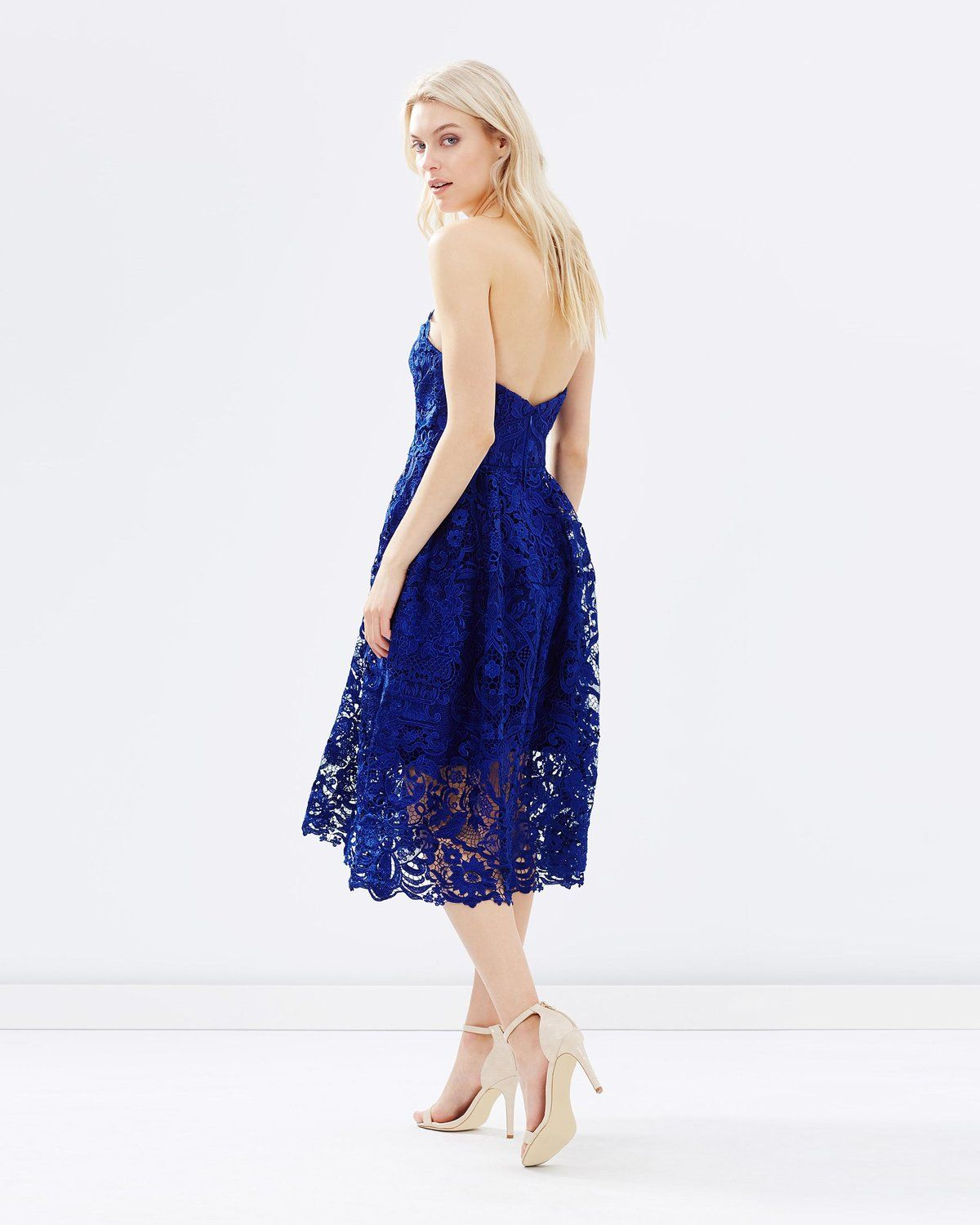 Thurley wedding dress  delicate navy lace bridesmaid dress by Thurley with flattering