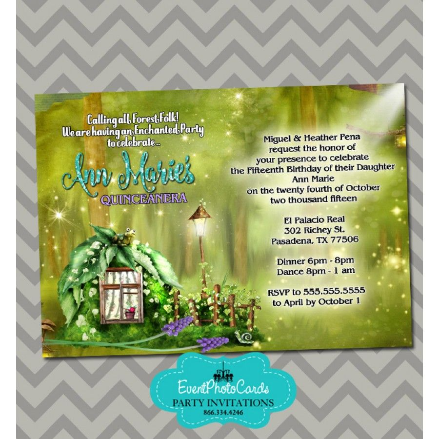 Enchanted Forest Sweet 15 Invitations Enchanted forest