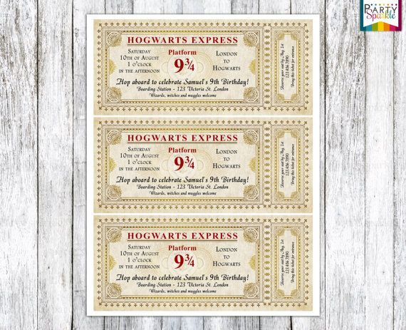 Hogwarts Express Ticket Invitation Harry Potter by PartySparkle