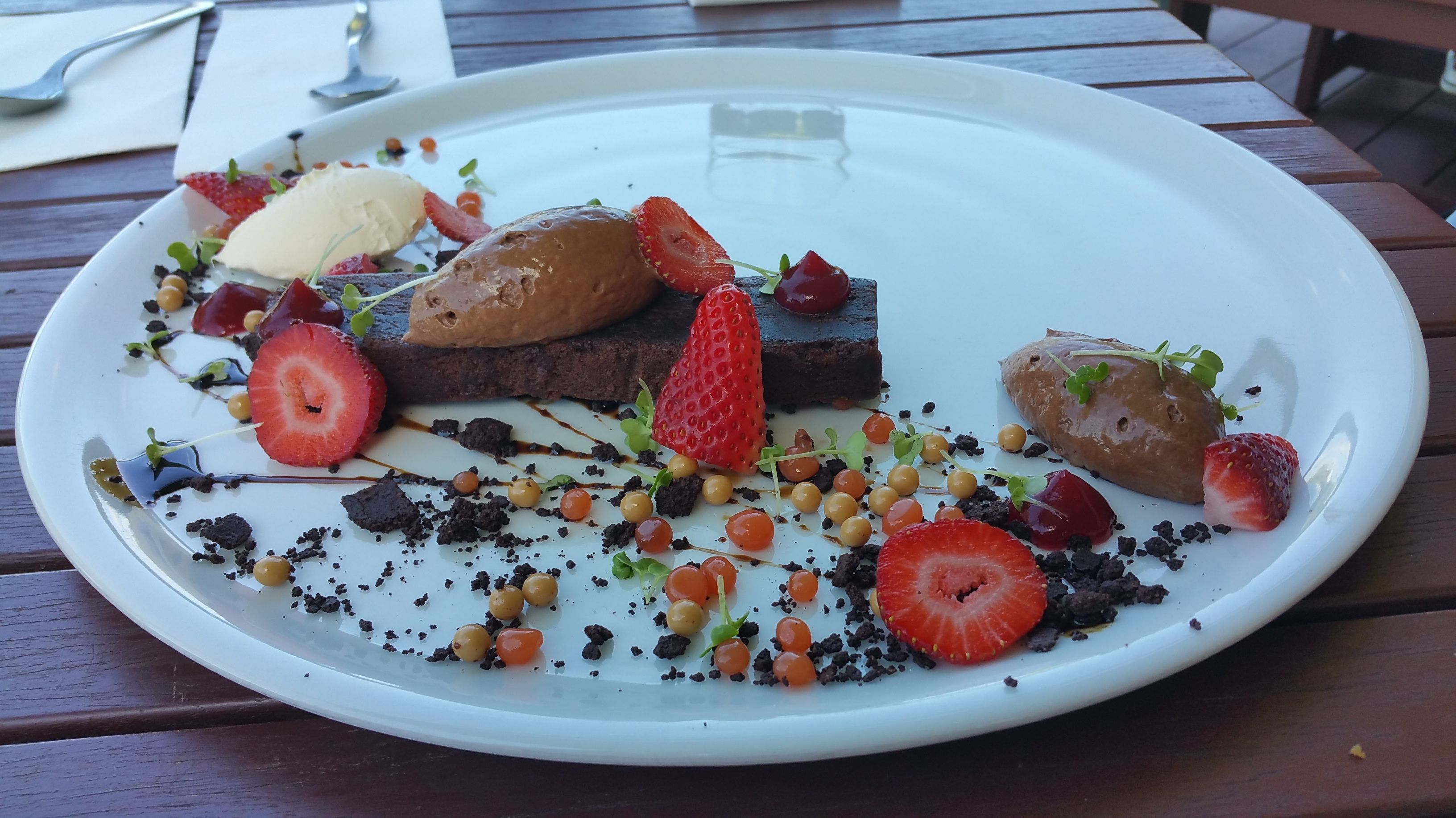 Death by Chocolate dessert Hay Shed Hill Estate WA