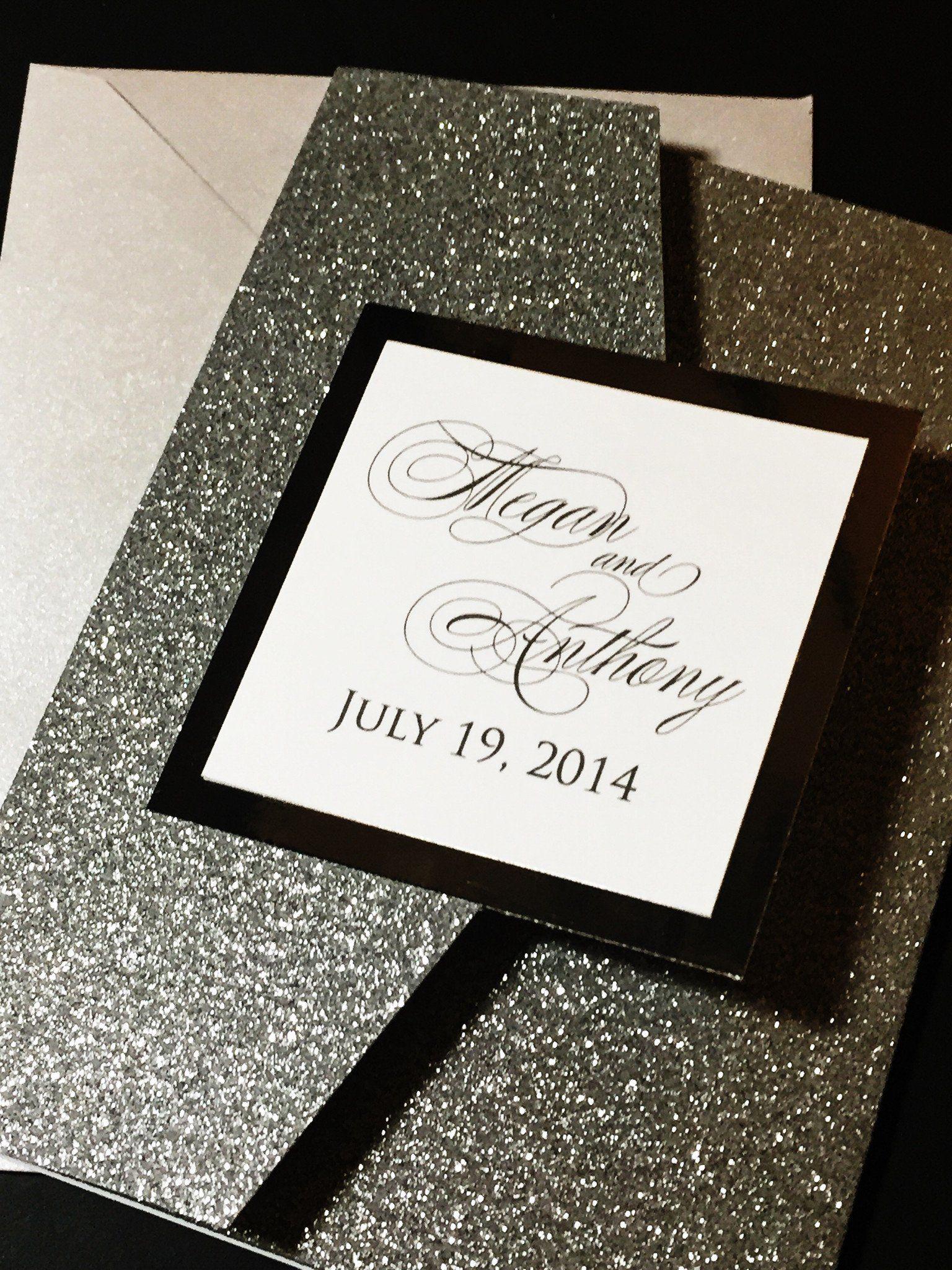 Glitter wedding invitations black tie wedding black
