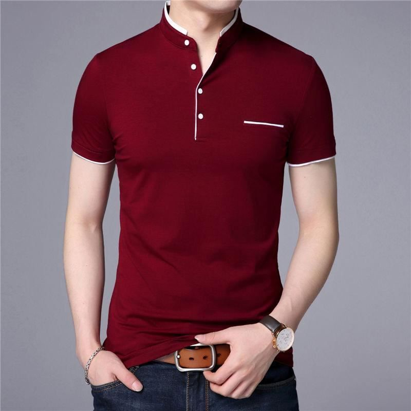 Gorgeous Mandarin Collar Short Sleeve Tee Shirt Men Top Men Brand Clothing  Slim   Clothing, Shoes   Accessories, Men s Clothing, Casual Shirts   eBay! ea8368239f