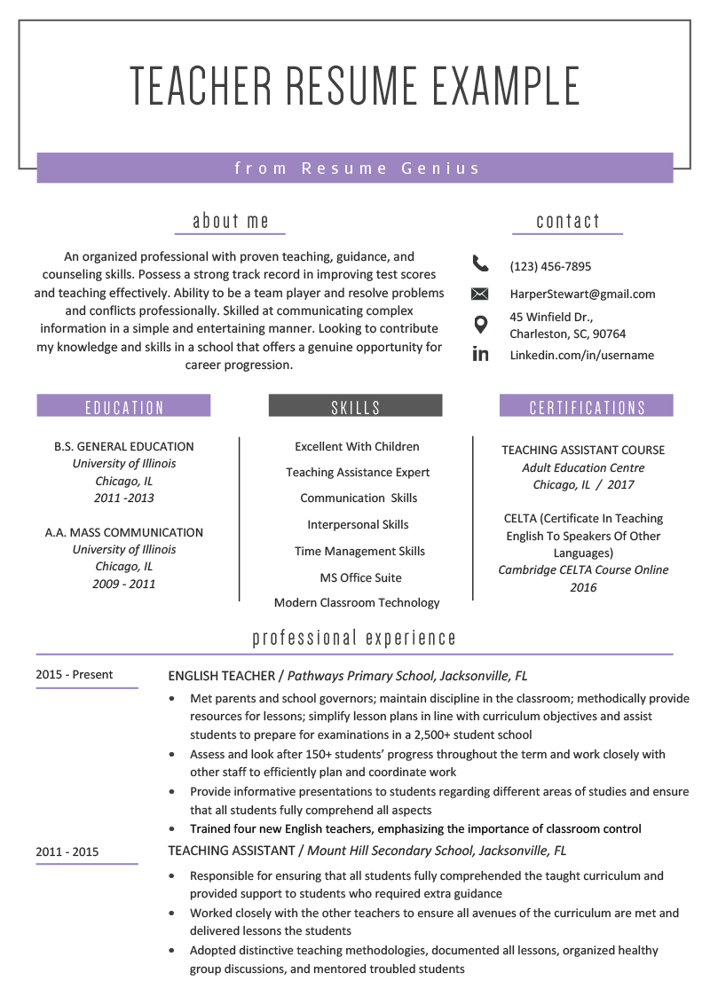 Perfect Resume Example 2020