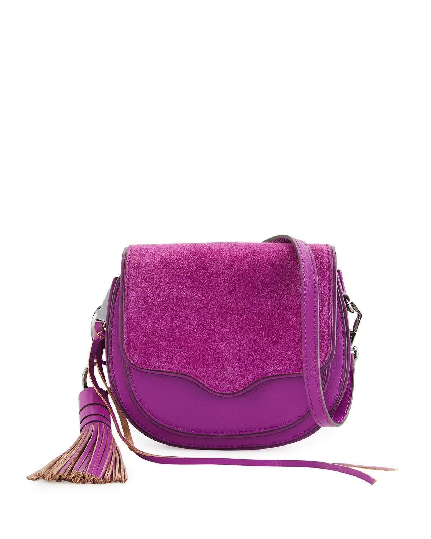 251ba8095a048 Suki Mini Suede & Leather Saddle Bag Purple | Gifts Ideas ...