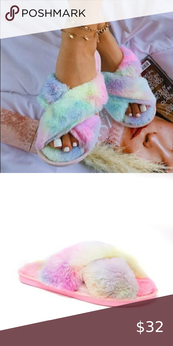 GET COZY FLUFFY TIE DYE SLIPPERS-PINK