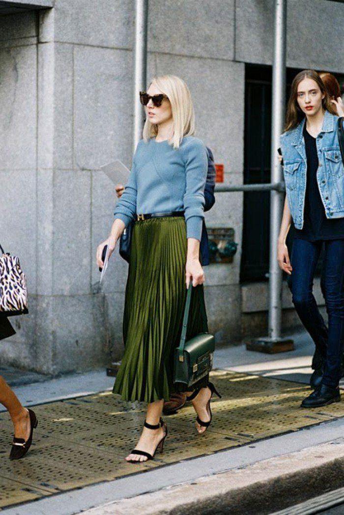 Comment porter la jupe longue plissée? 80 idées! | Jupe