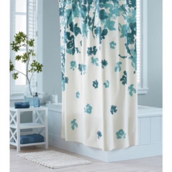 Threshold Watercolor Blue Floral Shower Curtain Target Teal NEW 1999 NWOP