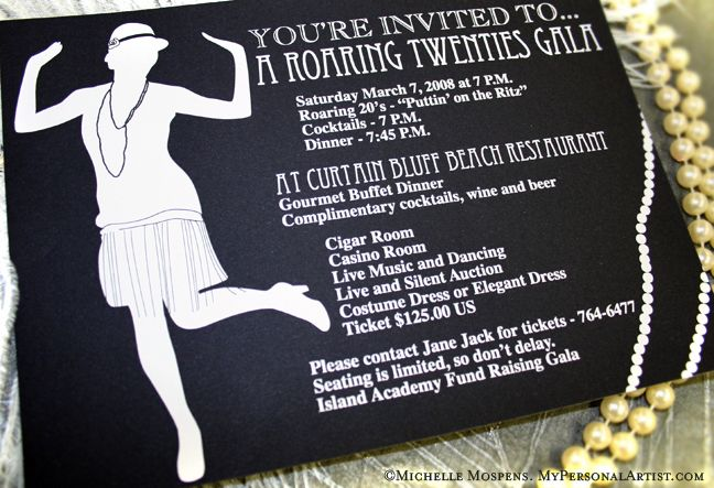A whole list of ideas for hosting a 20's themed party. Includes ...