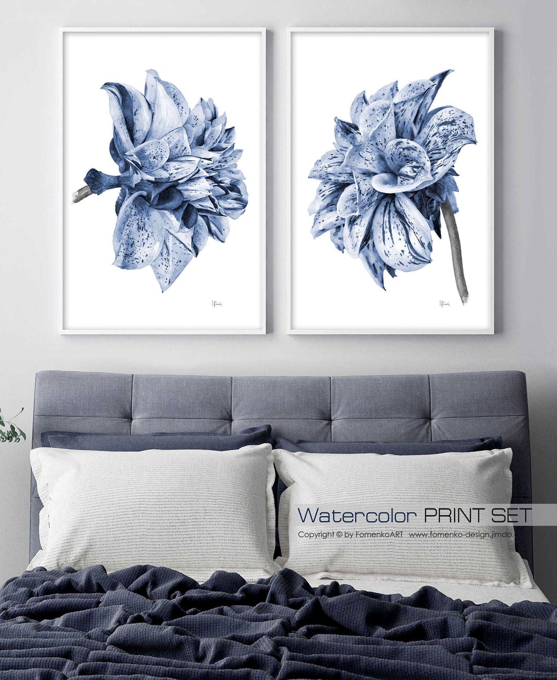 Watercolor Painting Dahlia Flower Art Print Set Of 2 Large Wall Prints Decor Bedroom Living Room F