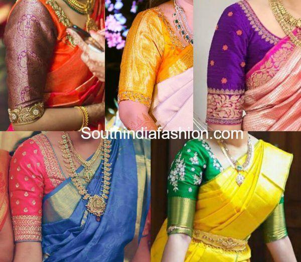 bb65b24df015a4 simple elbow length sleeves blouse designs for pattu silk sarees