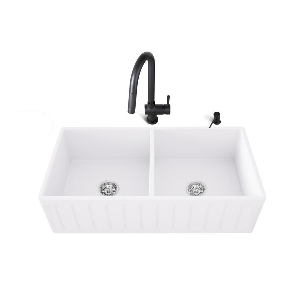 Vigo All In One Farmhouse Apron Front Matte Stone 36 In 0 Hole Double Bowl Kitchen Sink With Faucet In White Sink Kit Vg1 In 2020 Double Bowl Kitchen Sink Sink Stainless Steel Faucets