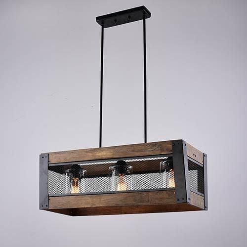 LNC 3 Light Chandeliers Wood Kitchen Island Lighting For Dining Room Living