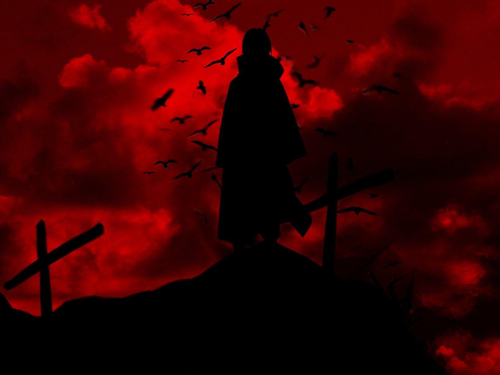 Uchiha Itachi Naruto Shippuuden Silhouette Uchiha Itachi Red Raven Cross Anime 720p Wallpaper Hdwallpaper Des Itachi Uchiha Itachi Mangekyou Sharingan