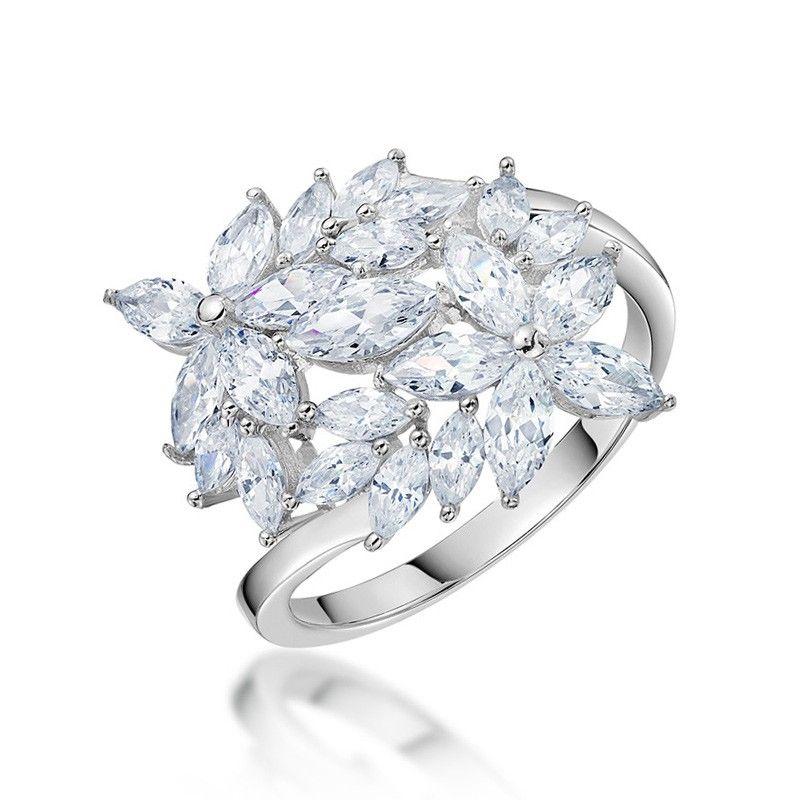 Sterling Silver Engagement Rings For Women Flower Design In 2020 Sterling Silver Cz Rings White Sapphire Engagement Ring Womens Engagement Rings
