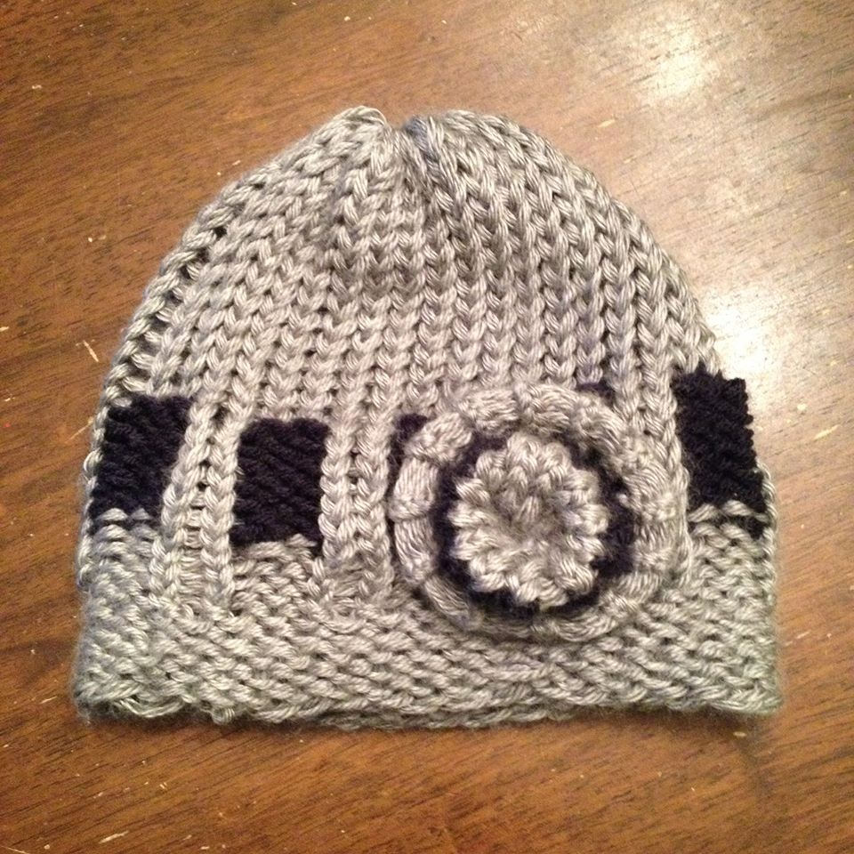 Loom knitting this belt loop hat. It\'s one of many available on the ...