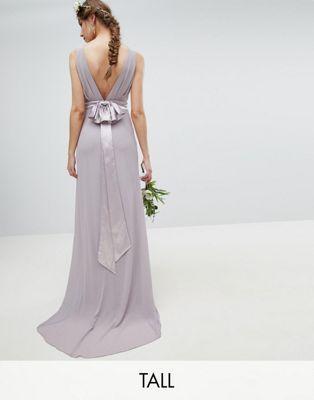 b226c4bb0753 Shop TFNC Tall Sateen Bow Back Maxi Bridesmaid Dress at ASOS. Discover  fashion online.