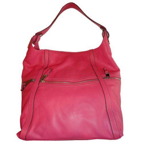 Women S Tignanello Purse Handbag Pebble Leather Curved Zip Pocket Hobo Magenta Shoes