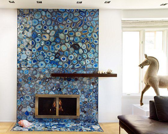 Agate stone fireplace feature