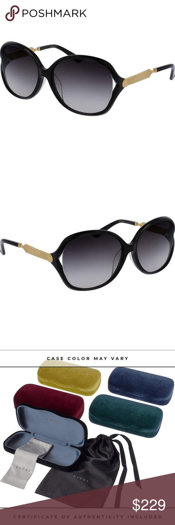c3109877fe Gucci Sunglasses Black Gold w Grey Gradient Lens Buy with confidence from  an established dealer