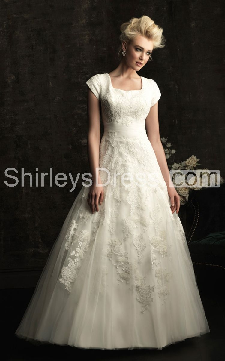 Tulle skirt wedding dress  Modesty Square Lace Wedding Gown with Tulle Skirt  Wedding Ideas