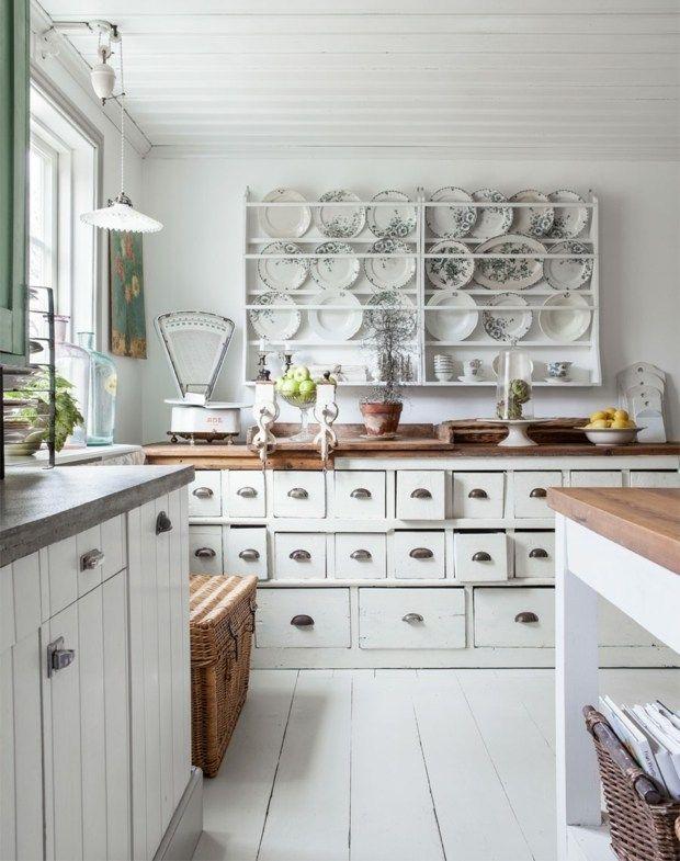 weiße küche unterschränke teller wand gestaltung | wohnen - küche ... - Gestaltung Küche