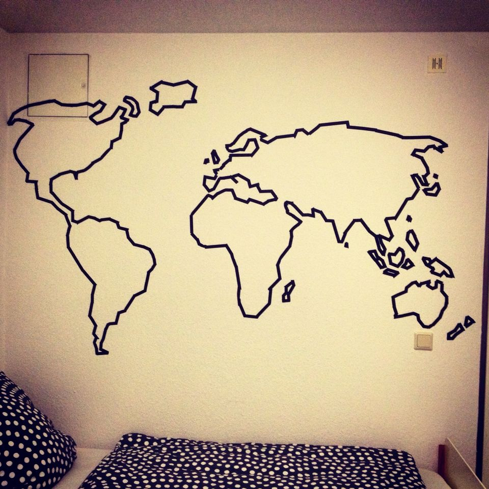 washi tape world map on my wall | DIY Home Decor | Pinterest ...