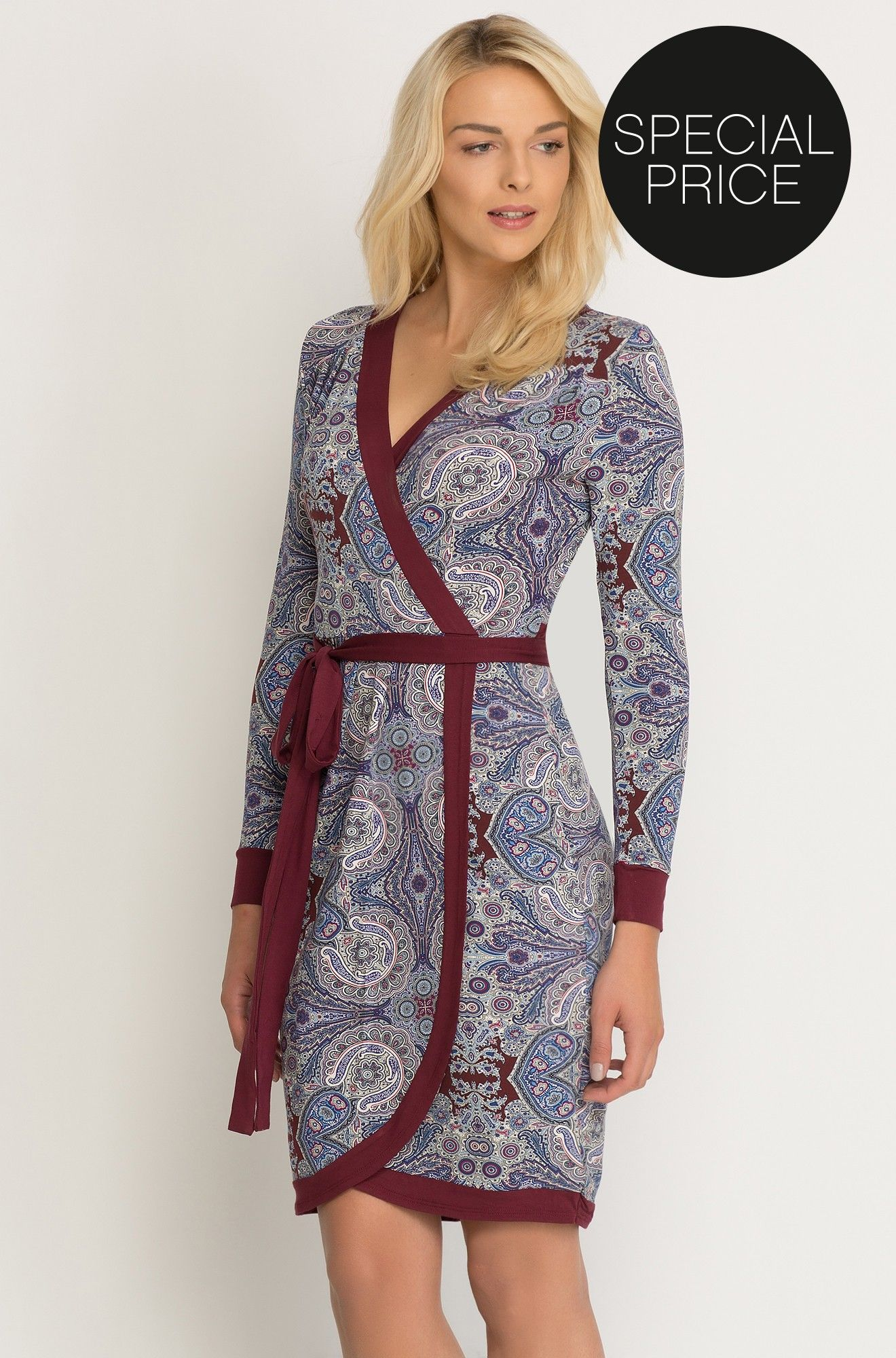 kopertowa sukienka ze wzorem paisley   schöne kleider