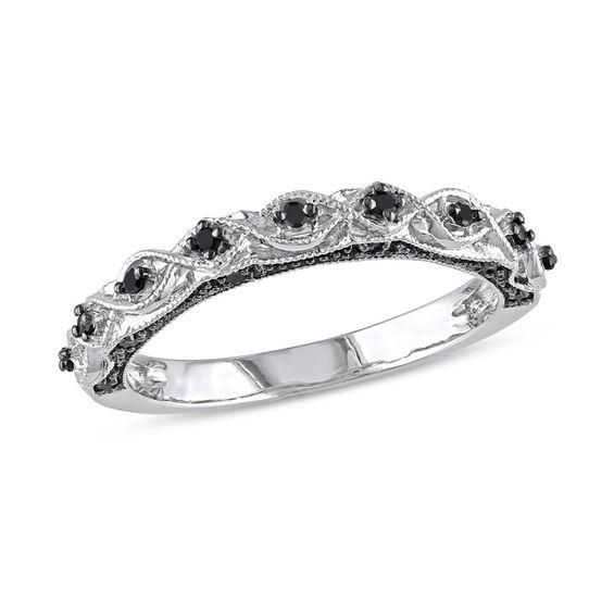 Zales 1/8 CT. T.w. Enhanced Black Diamond Geometric Stackable Band Set in Sterling Silver avLejycct