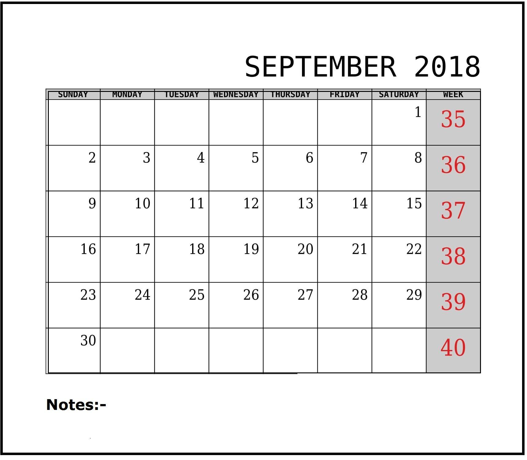 2018 September Calendar For Powerpoint Printable Calendar
