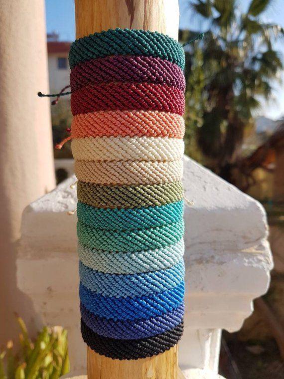 Flat braided bracelet. Macrame bracelet. Stack bracelet. Handmade bracelet. Waterproof bracel…