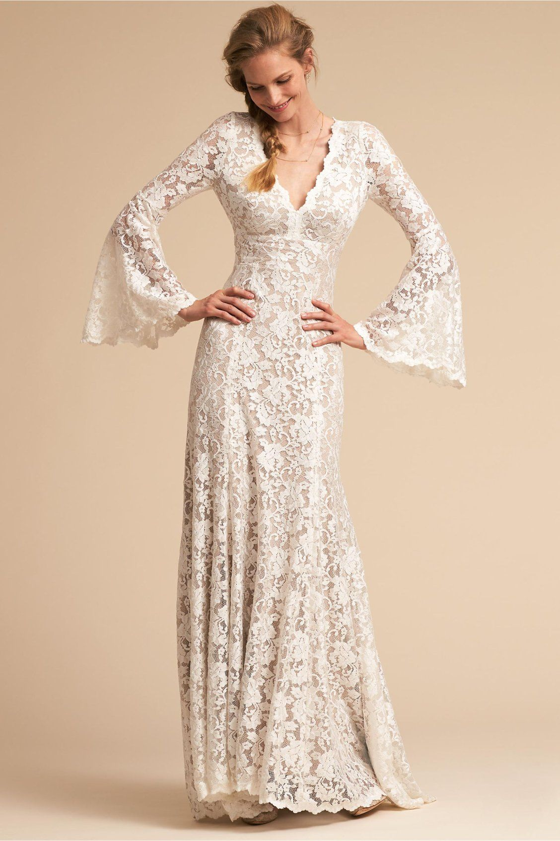 Long sleeved lace wedding dress  Lucca Gown from BHLDN  Not the wedding kind  Pinterest  Lucca