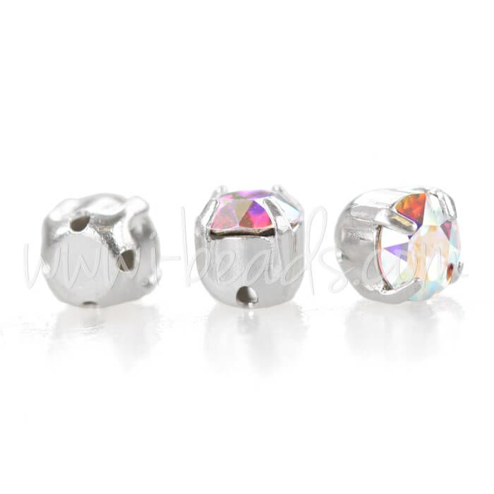 Swarovski chatons montées silver brushed SS29 - 6mm crystal AB (10)