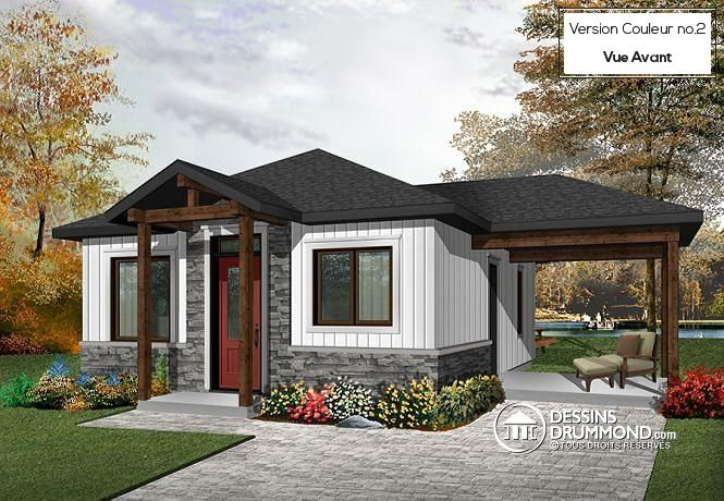 Plan de maison moderne rustique 2 chambres aire ouverte à la cuisine et salle familiale grand patio couvert