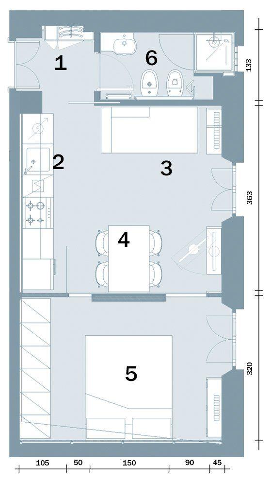 Casa piccola 35 mq con ambienti trasformabili e 6 comode for Interni e progetti