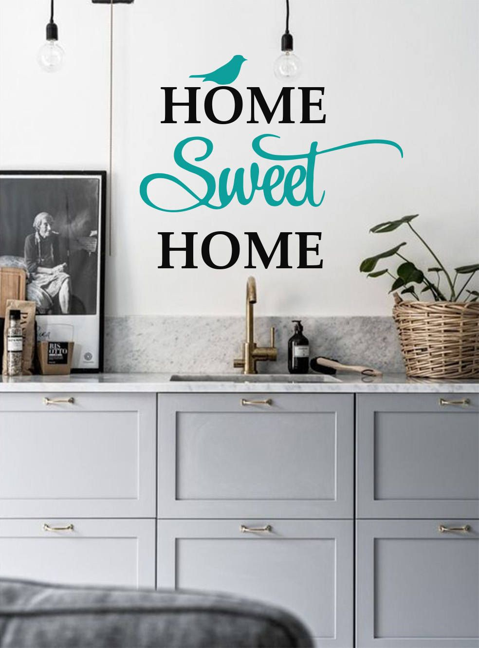Home sweet home decal entrance hall room decor welcome wall decal family quote decals kitchen wall decals family vinyl stickers home decor by