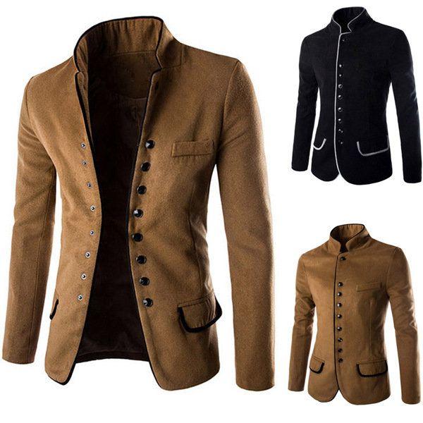 61d63a282ff Retro Gentleman Unique Woolen Suit Stand Collar Single Breasted Edging Suit  Coat - Banggood Mobile