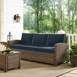 Bradenton Sofa With Navy Cushions In 2019 Backyard Resin Patio Rh Pinterest Com Outdoor Furniture