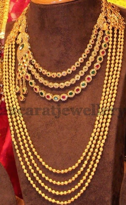 Gold Swirls Long Set and Necklace | Jewellery Designs
