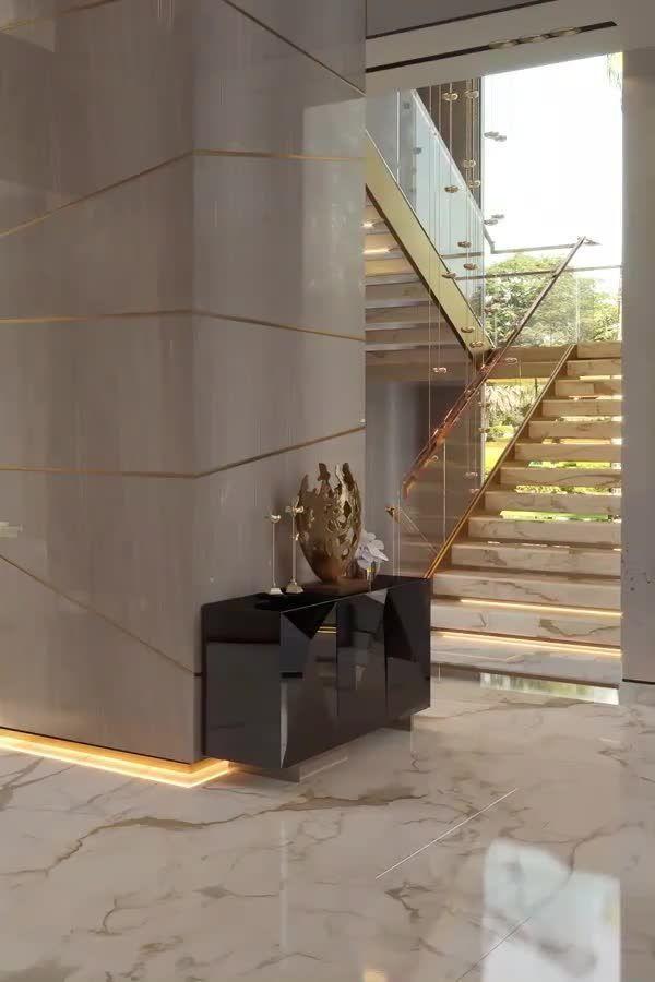 Luxury modern dream house living room interior vid