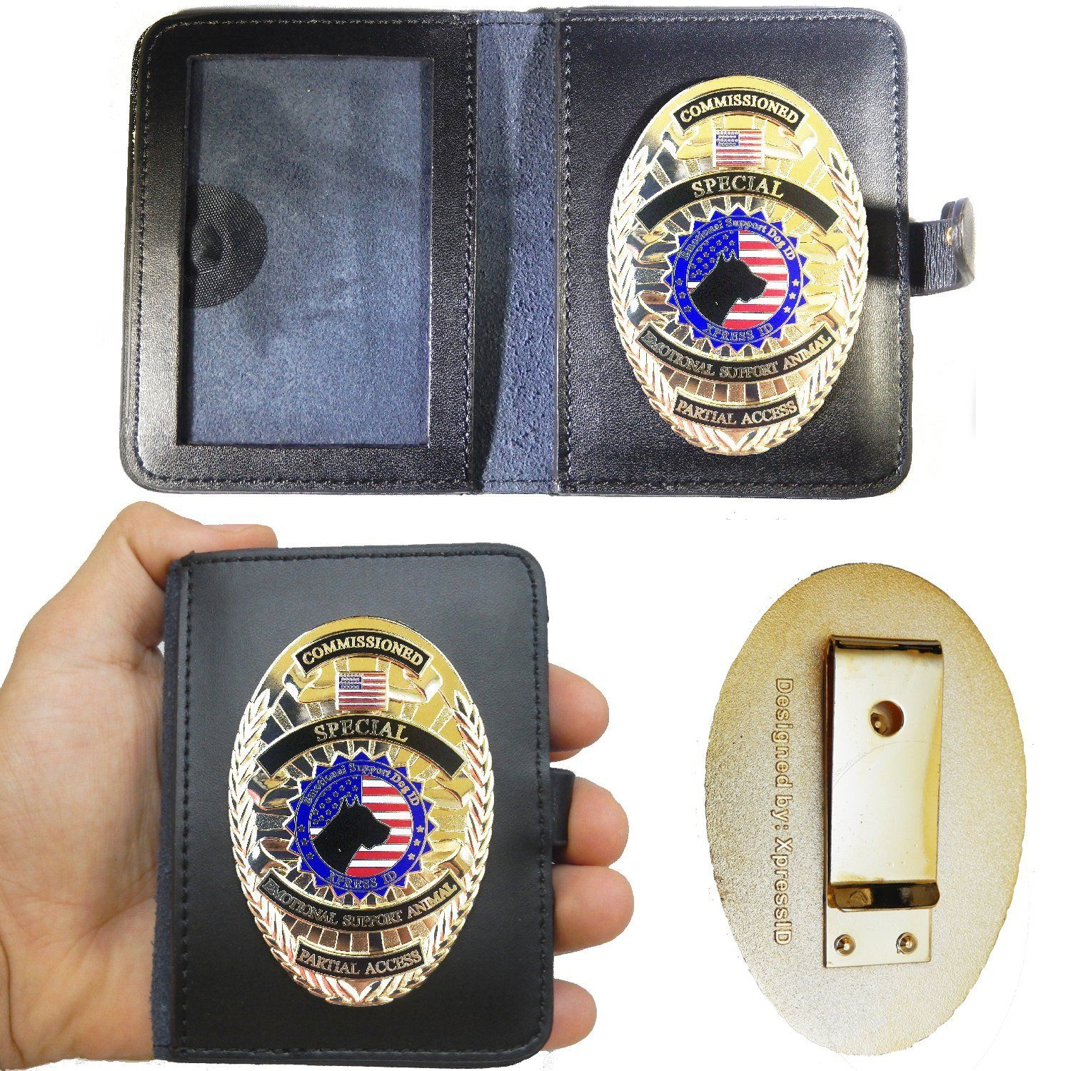 Emotional Support Dog Badge and Leather Wallet By XpressID