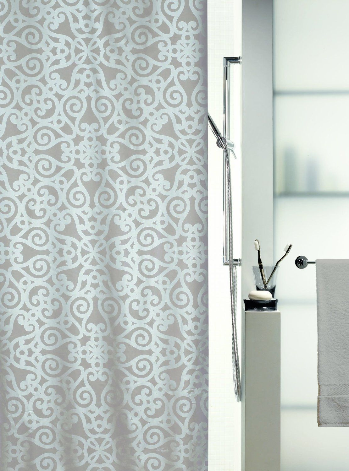 Shower curtain Orsini by Spirella. Textile/Polyester. Beige/White ...