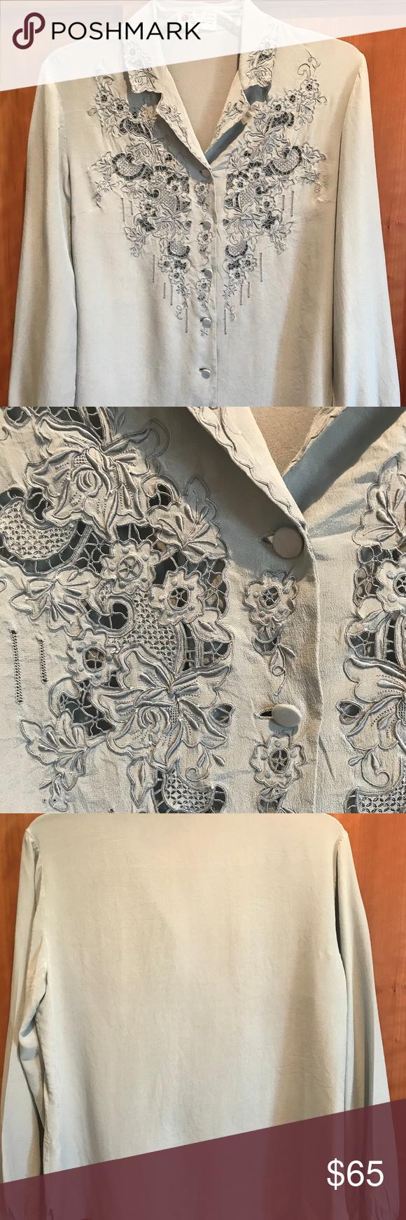 030b46323800ec China · Peony hand embroidered 100% silk blue gray blouse Vintage Peony  brand hand embroidered 100
