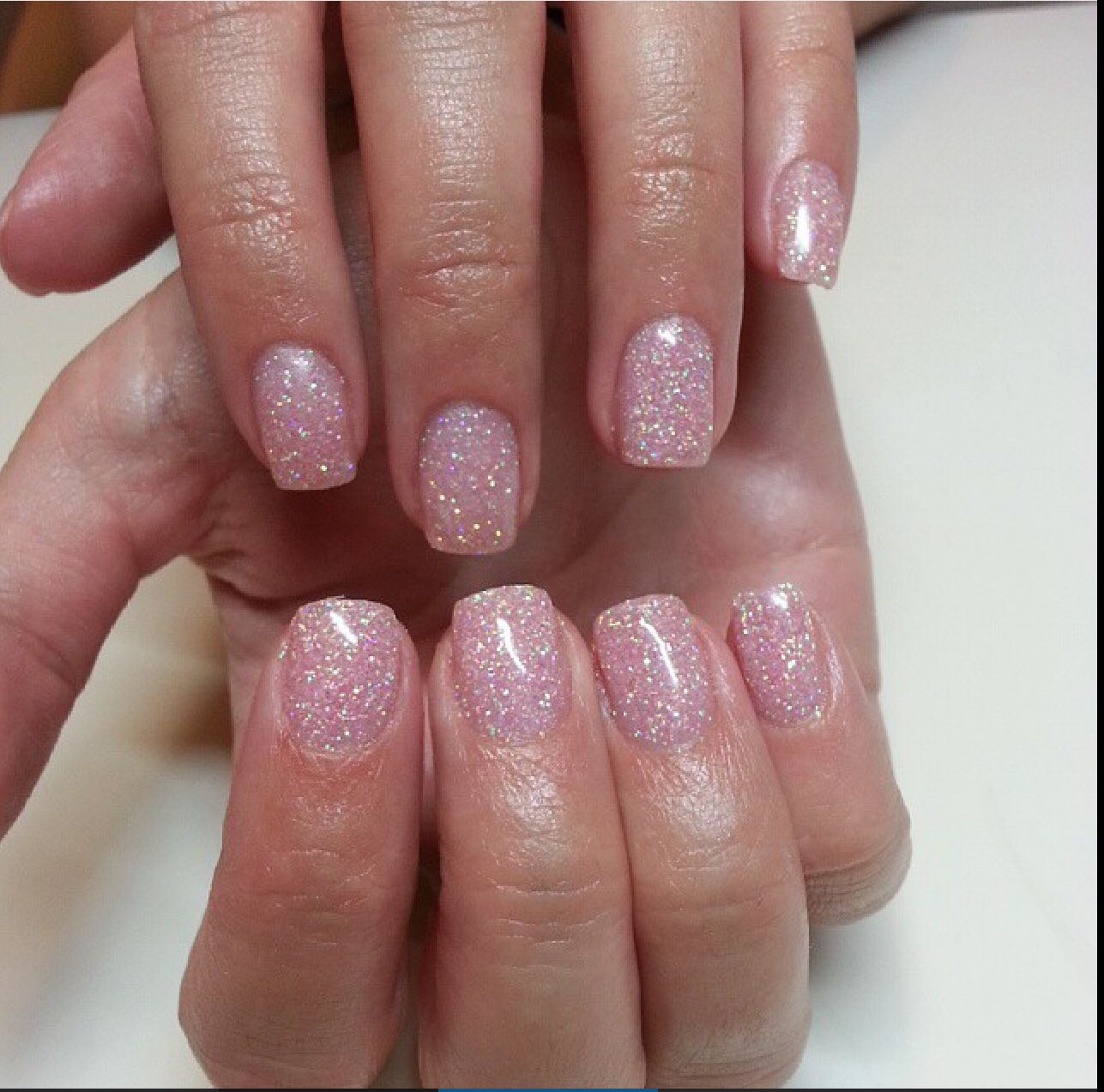 I Really Love This One Pink Glitter Short Square Nails Pink
