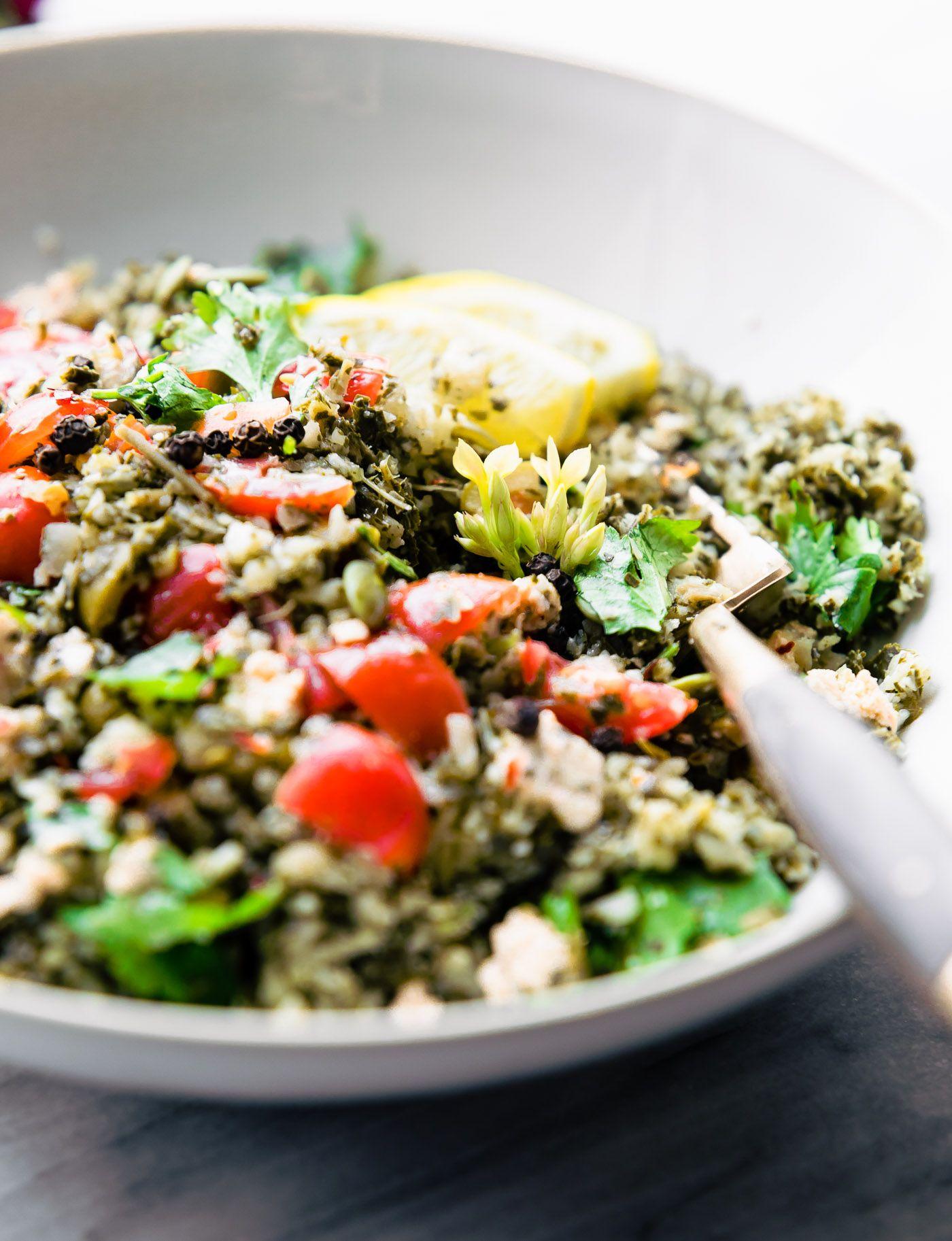 Greek Cauliflower Salad Bowls Low Carb Vegetarian Cotter Crunch Recipe Salad Bowl Recipes Spring Salad Recipes Cauliflower Salad
