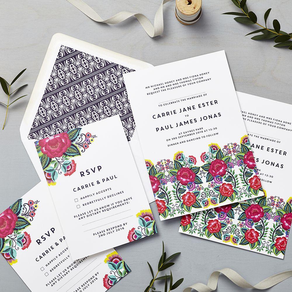 Lucy Says I Do Wedding Invitation Floral Folk Multi Wedding