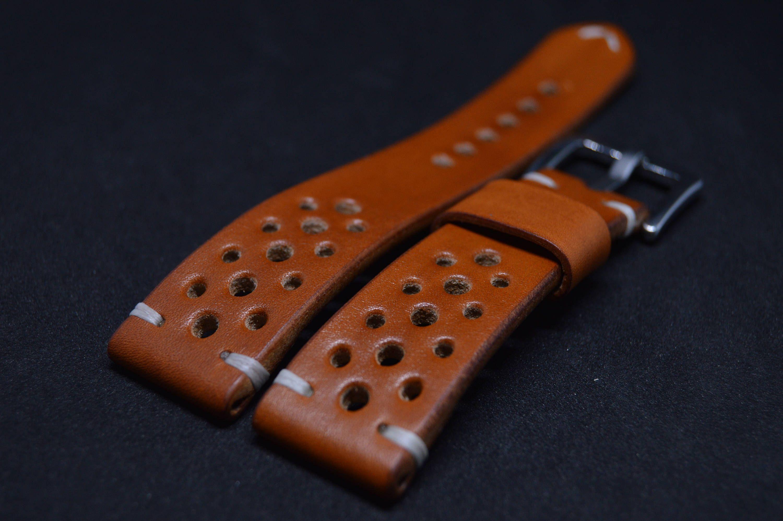Leather Rally Racing watch strap Aged Brown Custom wrist